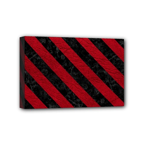 Stripes3 Black Marble & Red Leather Mini Canvas 6  X 4  by trendistuff