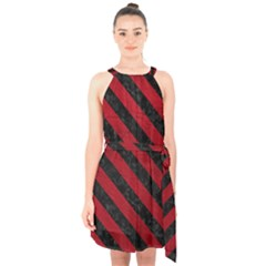 Stripes3 Black Marble & Red Leather Halter Collar Waist Tie Chiffon Dress