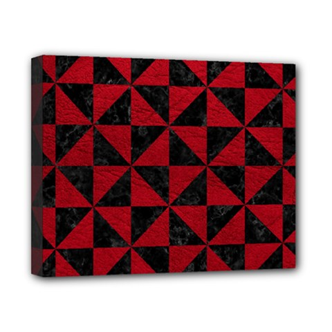 Triangle1 Black Marble & Red Leather Canvas 10  X 8  by trendistuff
