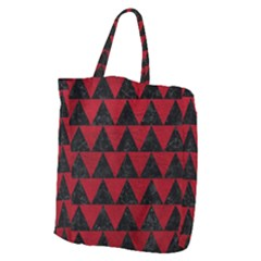 Triangle2 Black Marble & Red Leather Giant Grocery Zipper Tote by trendistuff