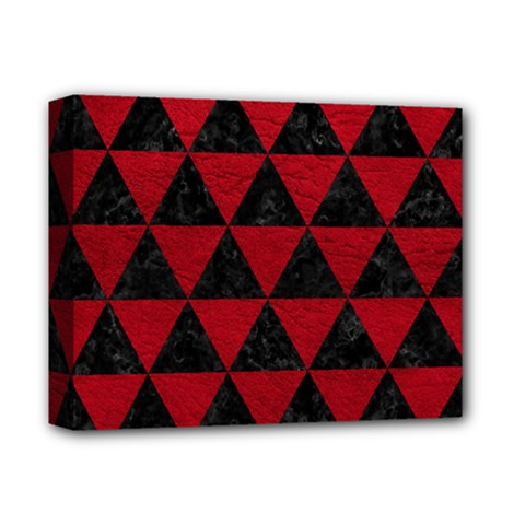 Triangle3 Black Marble & Red Leather Deluxe Canvas 14  X 11  by trendistuff