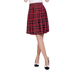 Woven1 Black Marble & Red Leather A Line Skirt by trendistuff