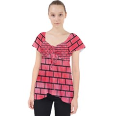 Brick1 Black Marble & Red Watercolor Lace Front Dolly Top