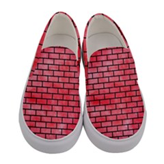Brick1 Black Marble & Red Watercolor Women s Canvas Slip Ons