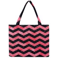 Chevron3 Black Marble & Red Watercolor Mini Tote Bag by trendistuff