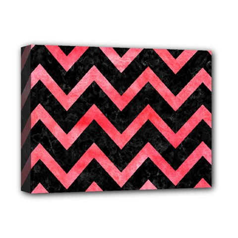 Chevron9 Black Marble & Red Watercolor (r) Deluxe Canvas 16  X 12   by trendistuff
