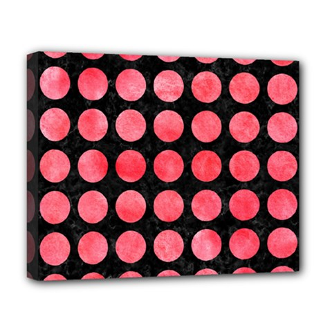 Circles1 Black Marble & Red Watercolor (r) Deluxe Canvas 20  X 16   by trendistuff