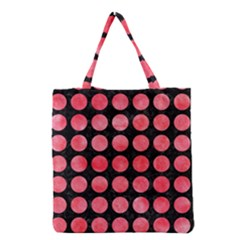 Circles1 Black Marble & Red Watercolor (r) Grocery Tote Bag by trendistuff