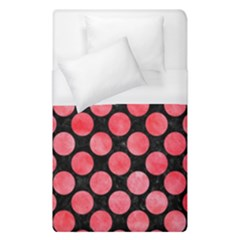 Circles2 Black Marble & Red Watercolor (r) Duvet Cover (single Size) by trendistuff