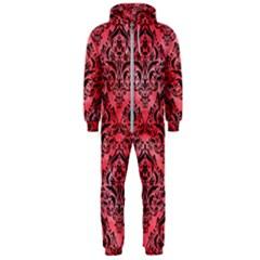 Damask1 Black Marble & Red Watercolor Hooded Jumpsuit (men)