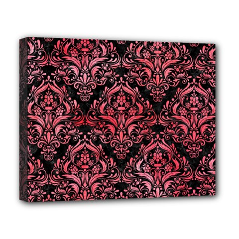 Damask1 Black Marble & Red Watercolor (r) Deluxe Canvas 20  X 16   by trendistuff