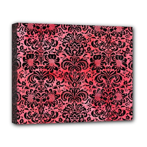 Damask2 Black Marble & Red Watercolor Deluxe Canvas 20  X 16   by trendistuff