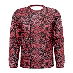 Damask2 Black Marble & Red Watercolor (r) Men s Long Sleeve Tee