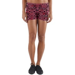 Damask2 Black Marble & Red Watercolor (r) Yoga Shorts