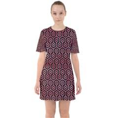 Hexagon1 Black Marble & Red Watercolor (r) Sixties Short Sleeve Mini Dress
