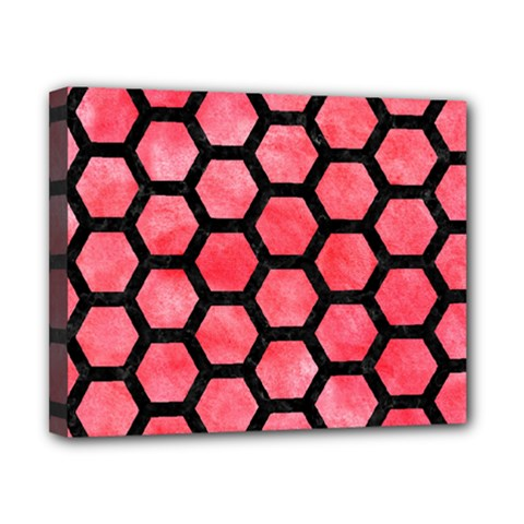 Hexagon2 Black Marble & Red Watercolor Canvas 10  X 8  by trendistuff