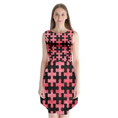 Puzzle1 Black Marble & Red Watercolor Sleeveless Chiffon Dress