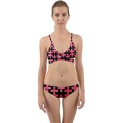 Puzzle1 Black Marble & Red Watercolor Wrap Around Bikini Set