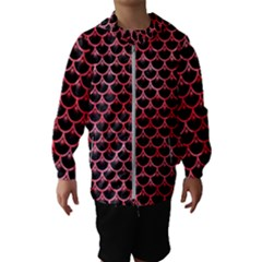 Scales3 Black Marble & Red Watercolor (r) Hooded Wind Breaker (kids)
