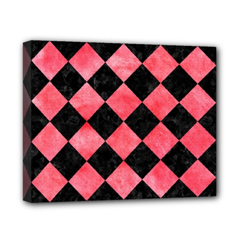 Square2 Black Marble & Red Watercolor Canvas 10  X 8  by trendistuff