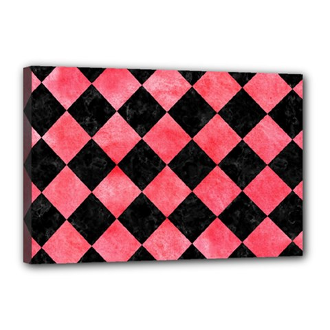 Square2 Black Marble & Red Watercolor Canvas 18  X 12  by trendistuff