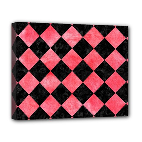 Square2 Black Marble & Red Watercolor Deluxe Canvas 20  X 16   by trendistuff