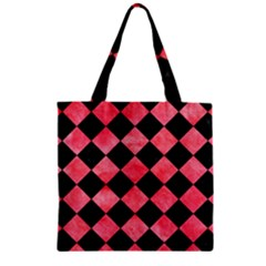 Square2 Black Marble & Red Watercolor Zipper Grocery Tote Bag by trendistuff