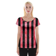 Stripes1 Black Marble & Red Watercolor Cap Sleeve Tops