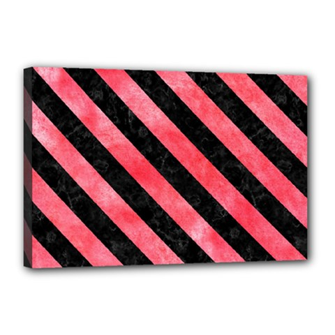 Stripes3 Black Marble & Red Watercolor Canvas 18  X 12  by trendistuff