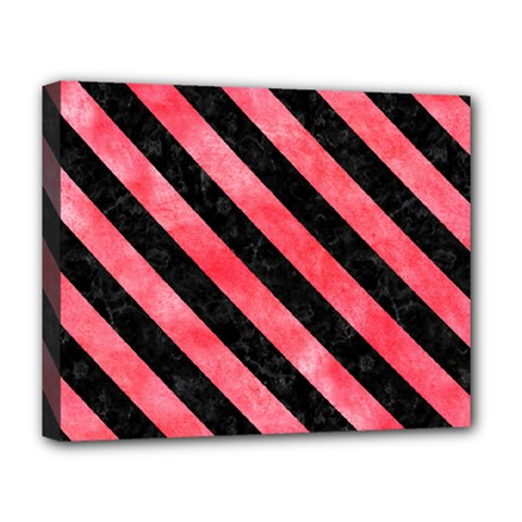 Stripes3 Black Marble & Red Watercolor Deluxe Canvas 20  X 16   by trendistuff
