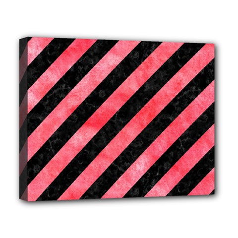 Stripes3 Black Marble & Red Watercolor (r) Deluxe Canvas 20  X 16   by trendistuff