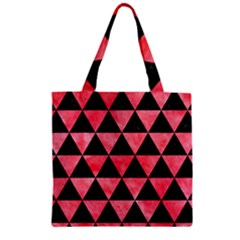 Triangle3 Black Marble & Red Watercolor Zipper Grocery Tote Bag by trendistuff