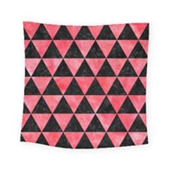 Triangle3 Black Marble & Red Watercolor Square Tapestry (small)