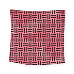Woven1 Black Marble & Red Watercolor Square Tapestry (small)