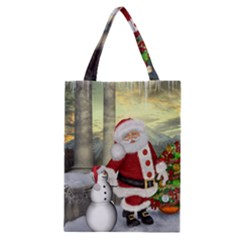 Sanata Claus With Snowman And Christmas Tree Classic Tote Bag by FantasyWorld7