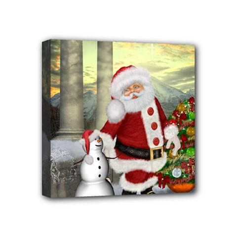 Sanata Claus With Snowman And Christmas Tree Mini Canvas 4  X 4  by FantasyWorld7