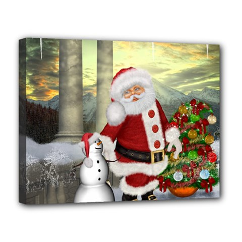 Sanata Claus With Snowman And Christmas Tree Canvas 14  X 11  by FantasyWorld7