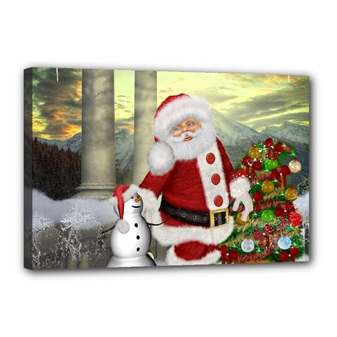 Sanata Claus With Snowman And Christmas Tree Canvas 18  X 12  by FantasyWorld7