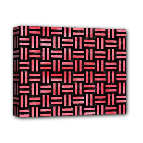 Woven1 Black Marble & Red Watercolor (r) Deluxe Canvas 14  X 11  by trendistuff