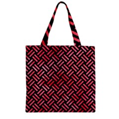 Woven2 Black Marble & Red Watercolor (r) Zipper Grocery Tote Bag by trendistuff