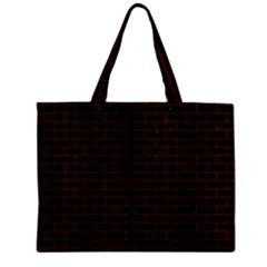 Brick1 Black Marble & Red Wood (r) Zipper Mini Tote Bag by trendistuff