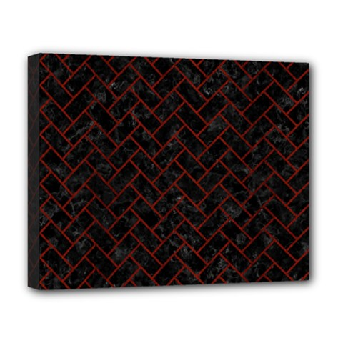 Brick2 Black Marble & Red Wood (r) Deluxe Canvas 20  X 16   by trendistuff