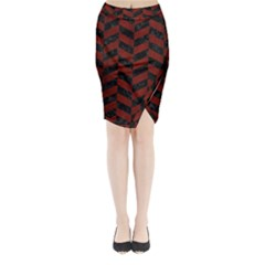 Chevron1 Black Marble & Red Wood Midi Wrap Pencil Skirt by trendistuff
