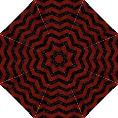 Chevron3 Black Marble & Red Wood Hook Handle Umbrellas (medium) by trendistuff