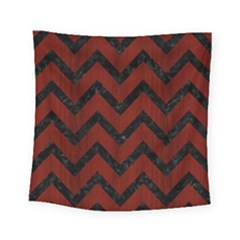 Chevron9 Black Marble & Red Wood Square Tapestry (small) by trendistuff