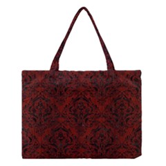 Damask1 Black Marble & Red Wood Medium Tote Bag by trendistuff