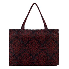 Damask1 Black Marble & Red Wood (r) Medium Tote Bag by trendistuff