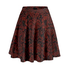 Damask2 Black Marble & Red Wood (r) High Waist Skirt by trendistuff