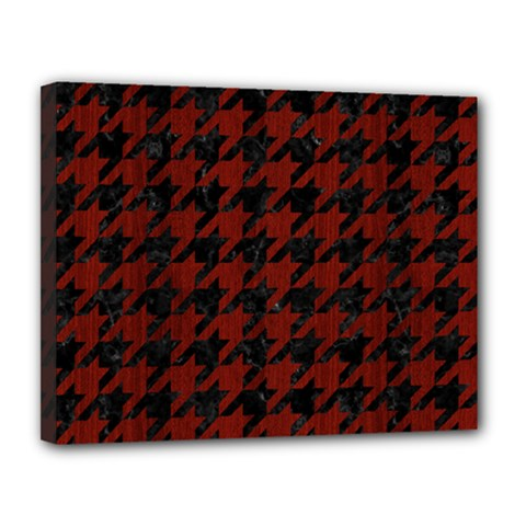 Houndstooth1 Black Marble & Red Wood Canvas 14  X 11  by trendistuff