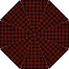 Houndstooth1 Black Marble & Red Wood Hook Handle Umbrellas (small) by trendistuff